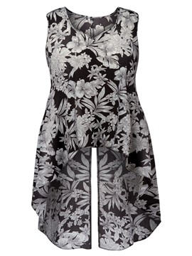 Ericdress Plus-Size V-Neck Floral Mid-Length Tee