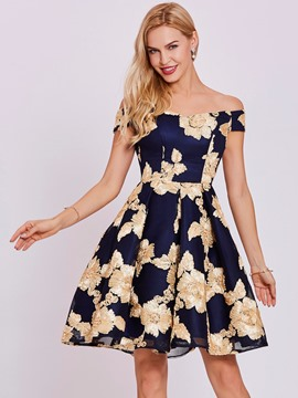 Ericdress off-the-shoulder lace-up appliques Heimkehr Kleid