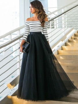 Ericdress Vertical Striped Slash Neck Expansion Maxi Dress