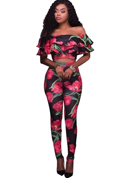 EricdressRuffles Slash Neck Floral Leisure Suits