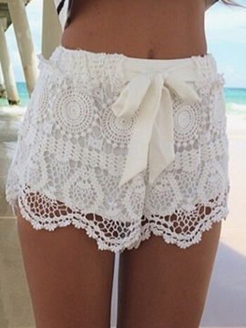 Ericdress Lace Lace-Up Shorts Pants