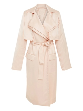 Ericdress Lapel Lace-Up Pocket Trench Coat