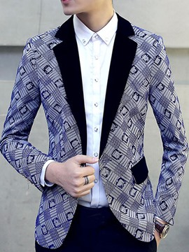 Ericdress One Button Vogue Print Lapel Slim Men's Blazer