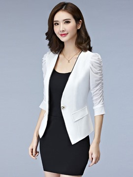 Ericdress Slim Plain Short One Button Blazer