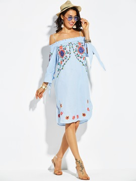 Ericdress Off Shoulder Bowknot Sleeve Floral Casual Dress