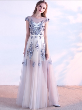 Ericdress A Line Cap Sleeve Applique Long Evening Dress