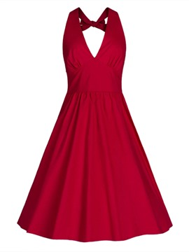 Ericdress V-Neck Backless Expansion A Line Dress