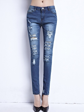 Ericdress Mid-Waist Slim Plain Women's Ripped Jeans