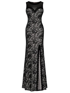 Ericdress Scoop See-Through Lace Maxi Dress