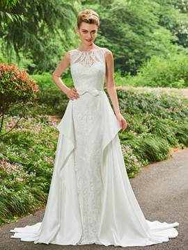 Ericdress Bateau Lace A Line Matte Satin Wedding Dress