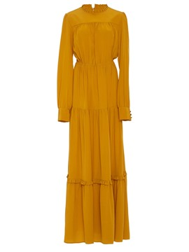 Ericdress Lantern Sleeve Solid Color Expansion Maxi Dress