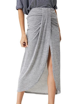 Ericdress Asymmetric Pleated Usual Skirts