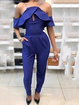 Ericdress Cold Shoulder Ruffles Jumpsuits Pants