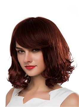 Ericdress Medium Curly Human Hair Capless Wig 16 Inches