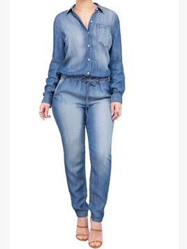 Ericdress Lace-Up Denim Jumpsuits Pants