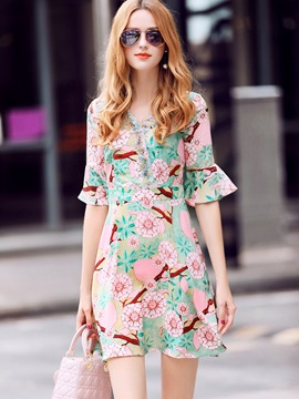 Ericdress Print Flare Sleeve Patchwork A Line Dress