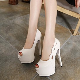 Ericdress Hollow Peep Toe Plain Stiletto Heel Pumps