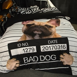 3D Bad Dog Printed Polyester 4-Piece Bedding Sets/Duvet Covers
