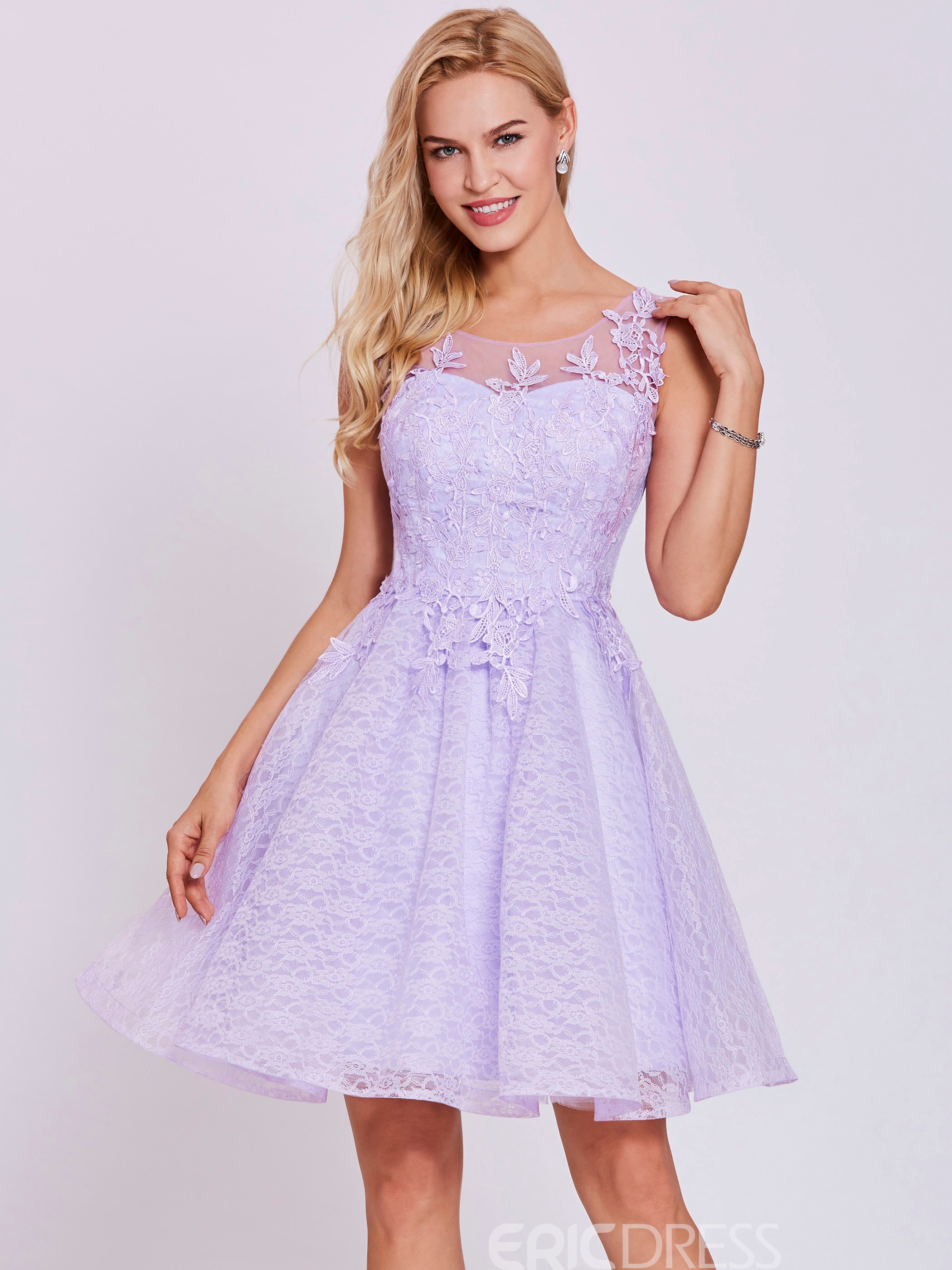 Ericdress Scoop Neck Lace Appliques A Line Homecoming Dress
