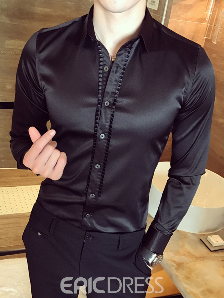 ericdress plain smooth anti wrinkle unique slim mens shirt