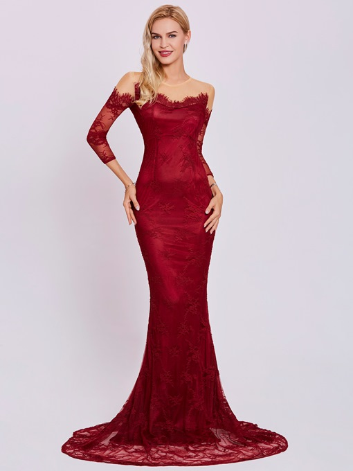 Ericdress Scoop Neck Long Sleeves Lace Mermaid Evening Dress
