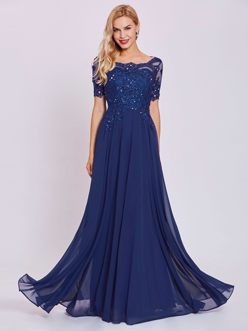Evening Dress Scoop Neck Beaded Appliques A Line