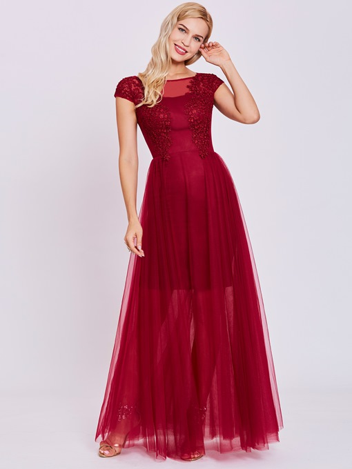 Ericdress A Line Scoop Neck Lace Appliques Evening Dress