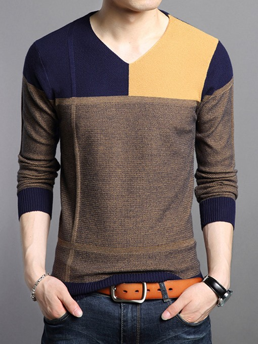 Ericdress Color Block V-Neck Slim Men's Sweater