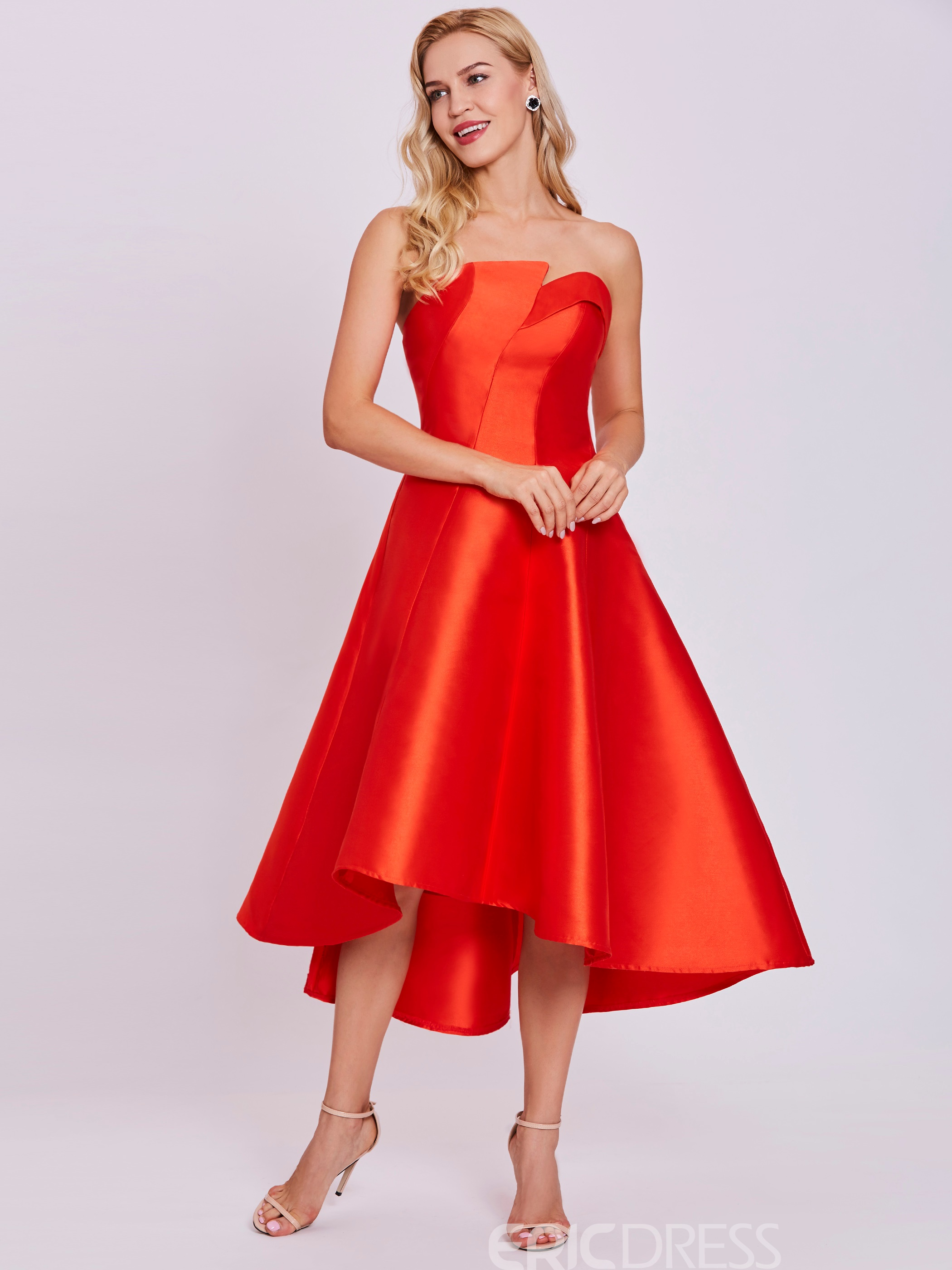 Ericdress Strapless Zipper-Up A Line Homecoming Dress