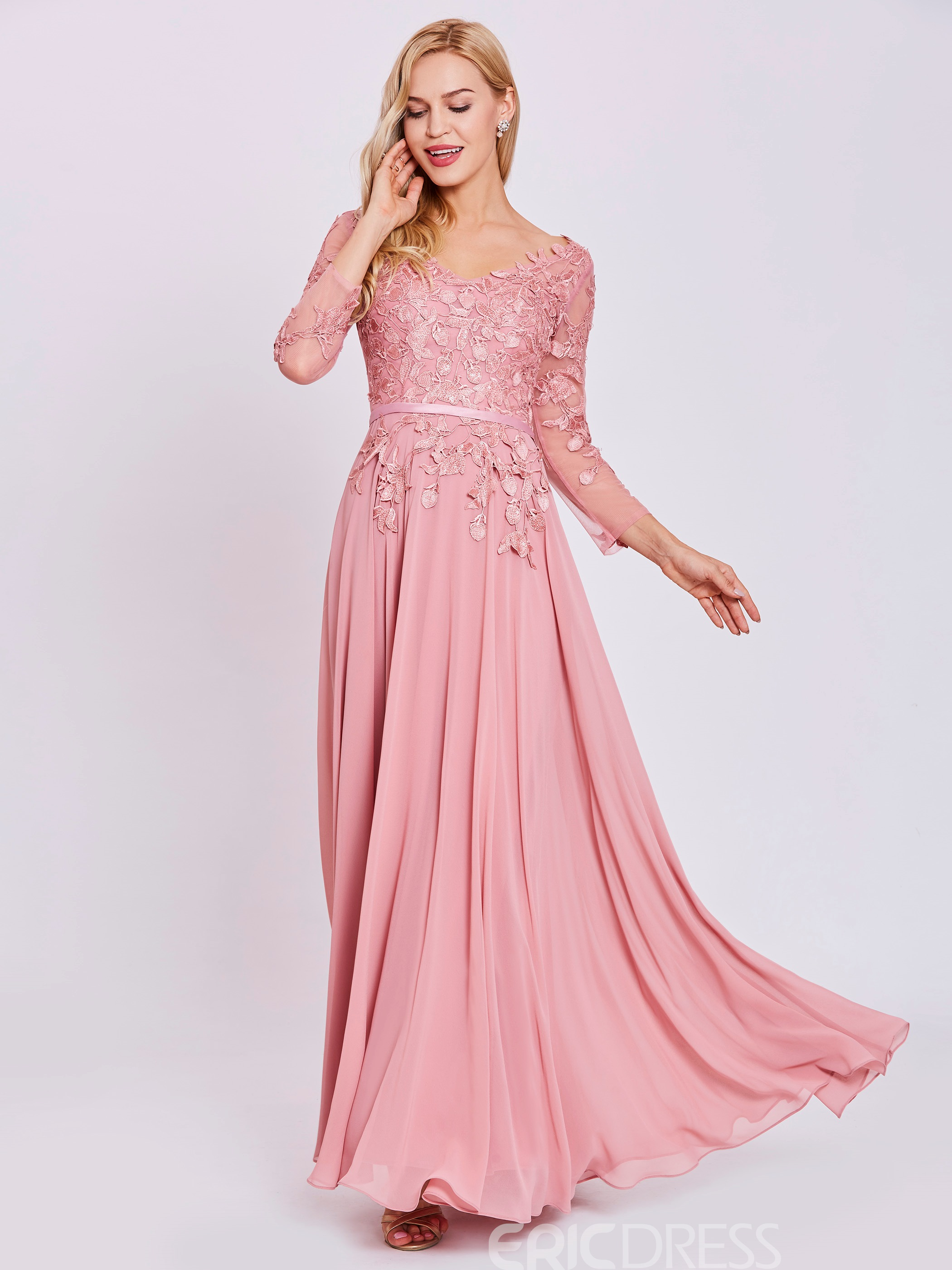Ericdress V Neck Long Sleeves Appliques A Line Evening Dress 12976625