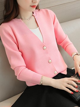 Ericdress Plain V-Neck Cardigan Knitwear