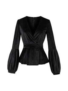 Ericdress Plus-Size Wrapped Lantern Sleeve Velvet Blazer