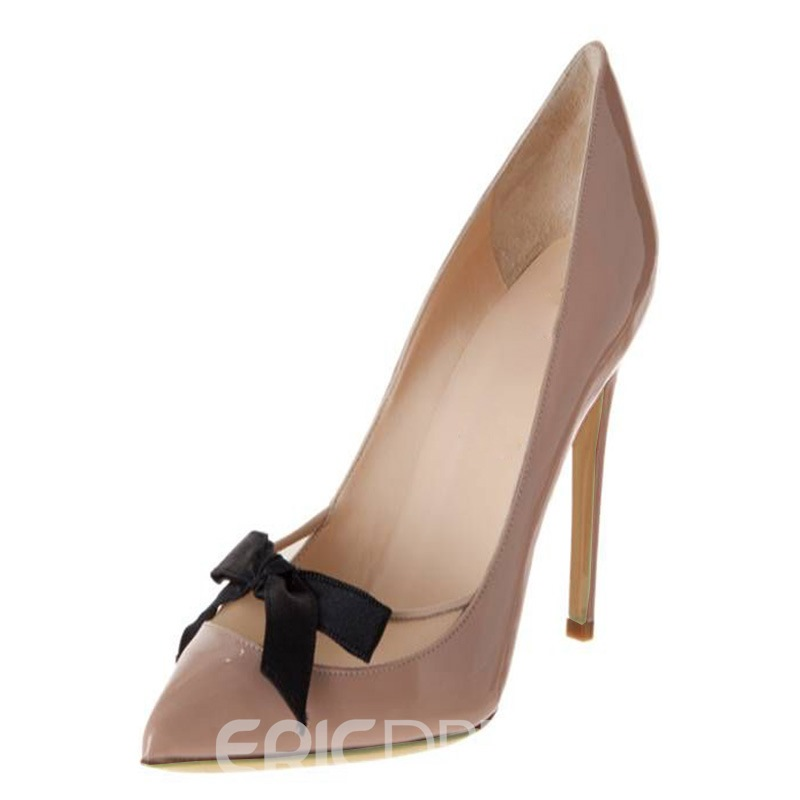 Ericdress Nude Slip-On Patchwork Stiletto Heel Pumps 12904147