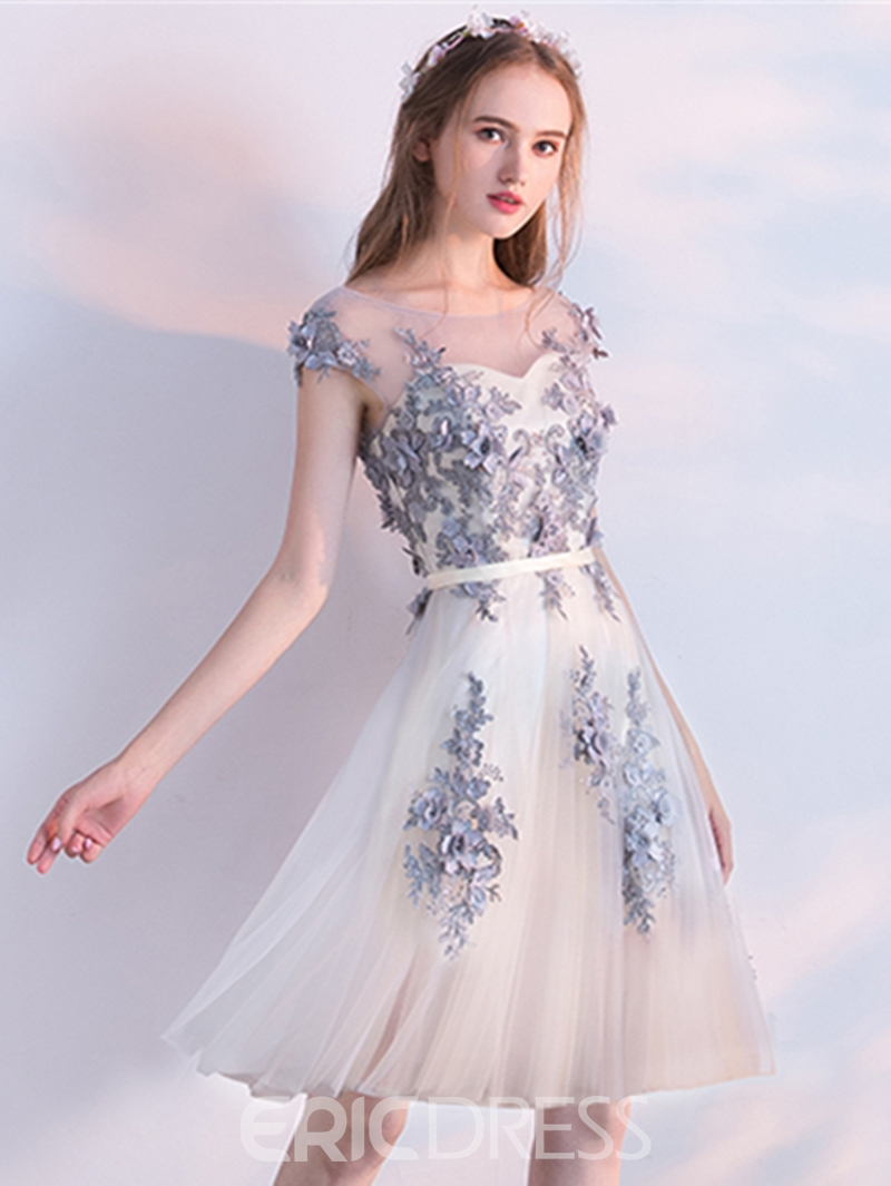 Ericdress A Line Cap Sleeve Applique Knee Length Homecoming Dress