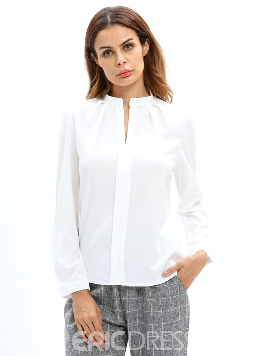 Ericdress V-Neck Plain Single-Breasted Blouse