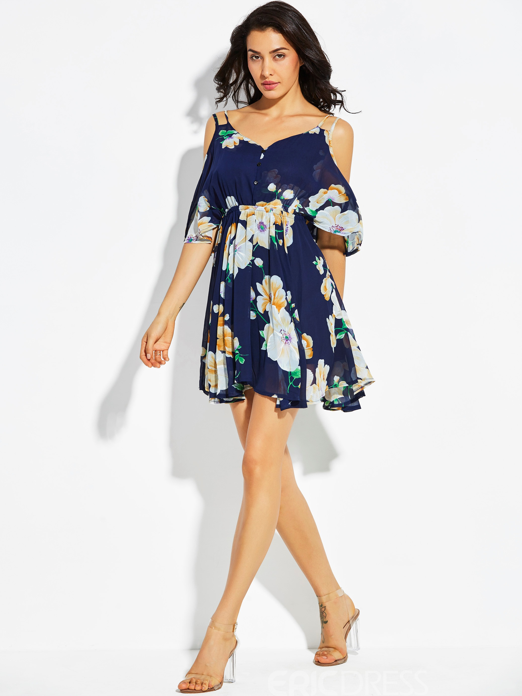 Ericdress Cold -the- Shoulderr Floral A Line Dress