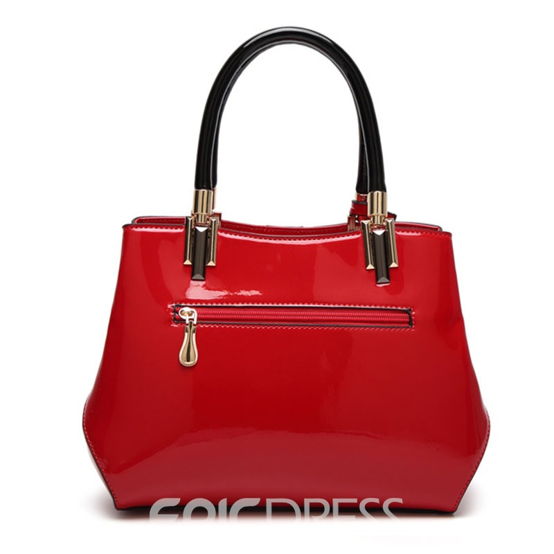 Ericdress Color Block Patent leather Women Handbag