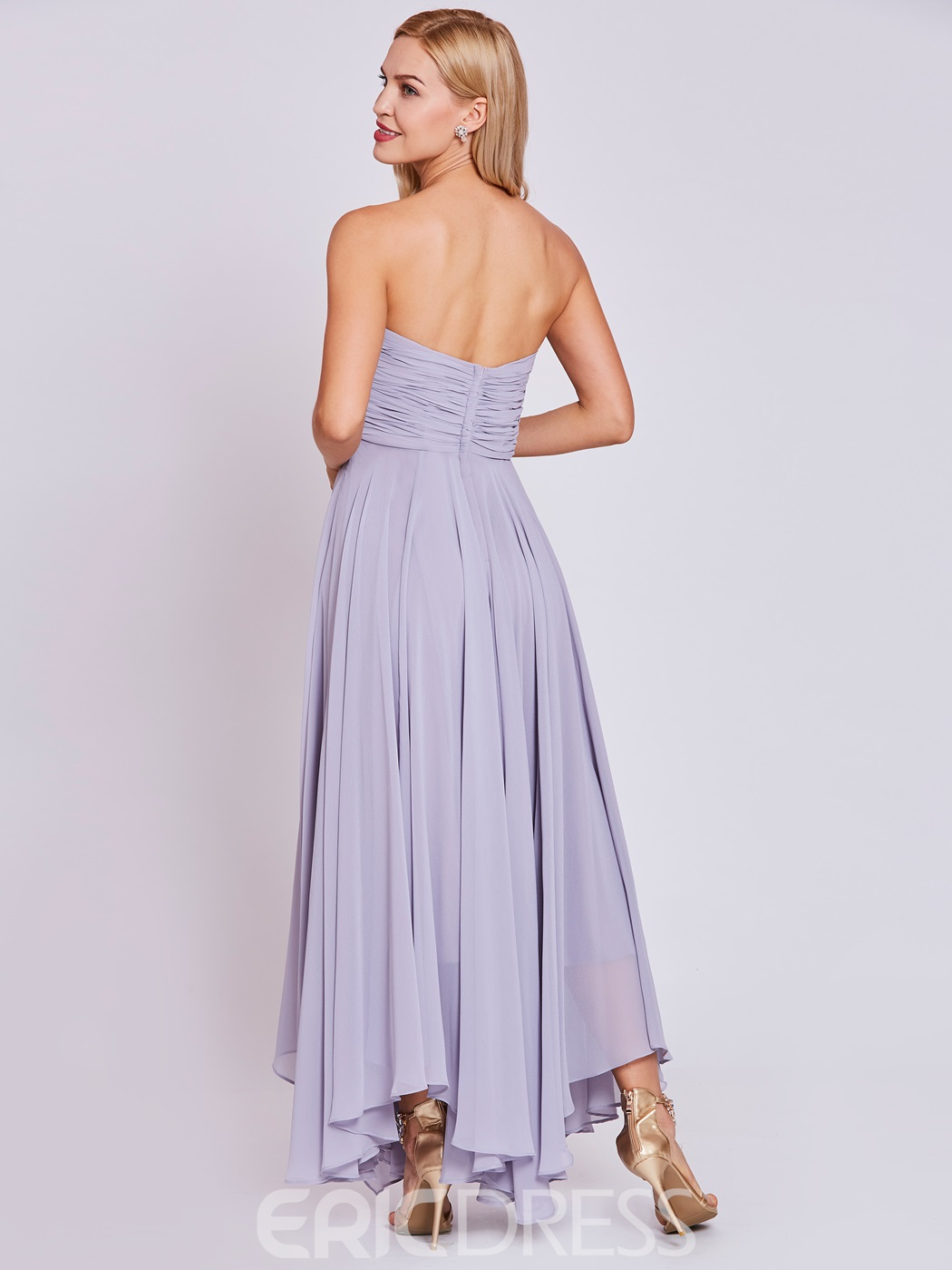 Ericdress Strapless Pleats A Line Prom Dress