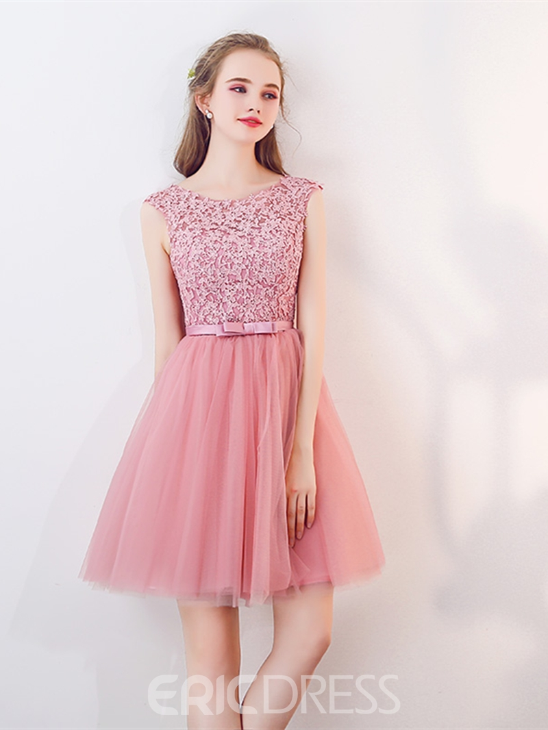 Ericdress A Line Applique Short Homecoming Dress With Cap Sleeve