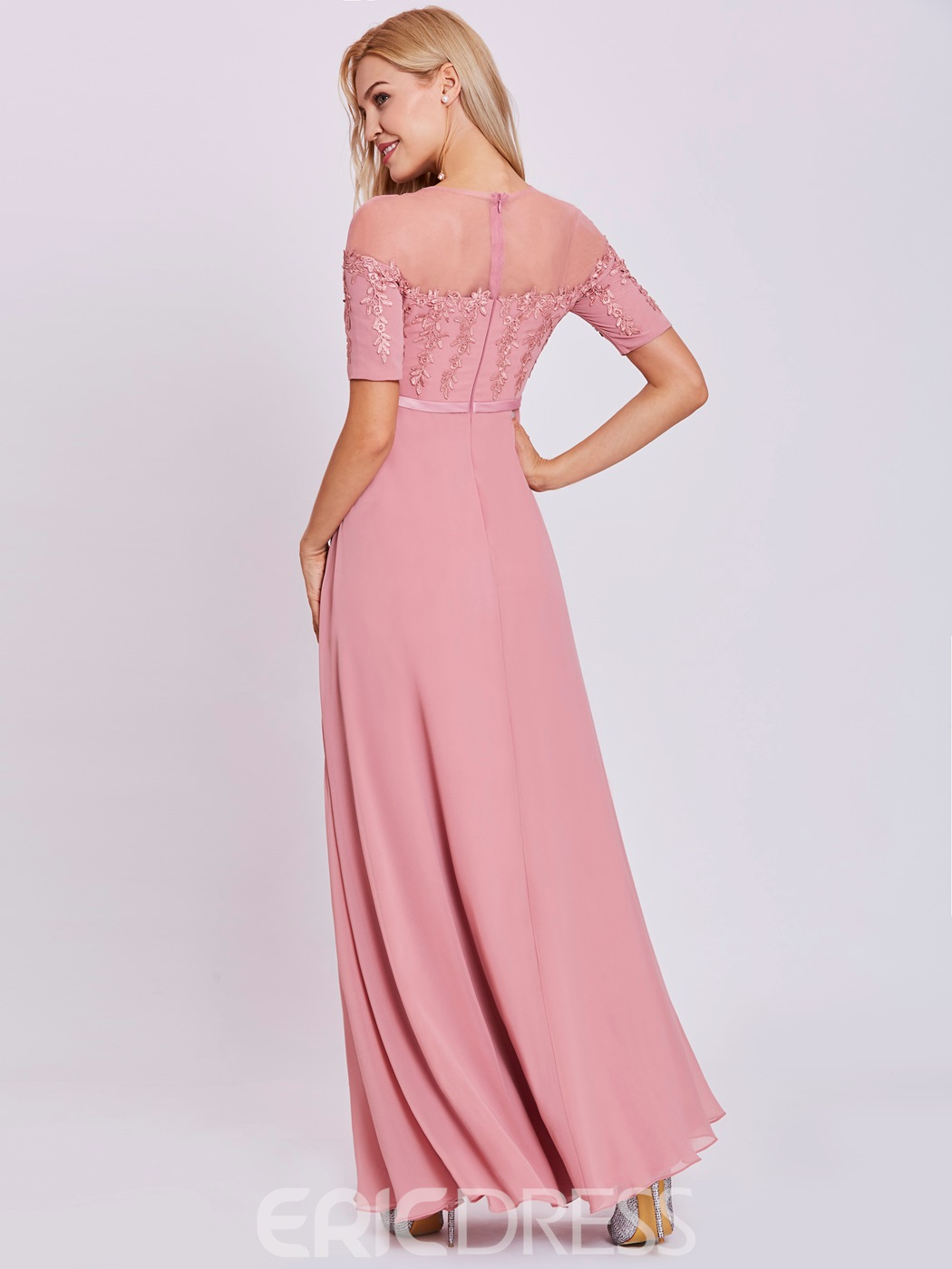 Ericdress A Line Scoop Neck Appliques Evening Dress