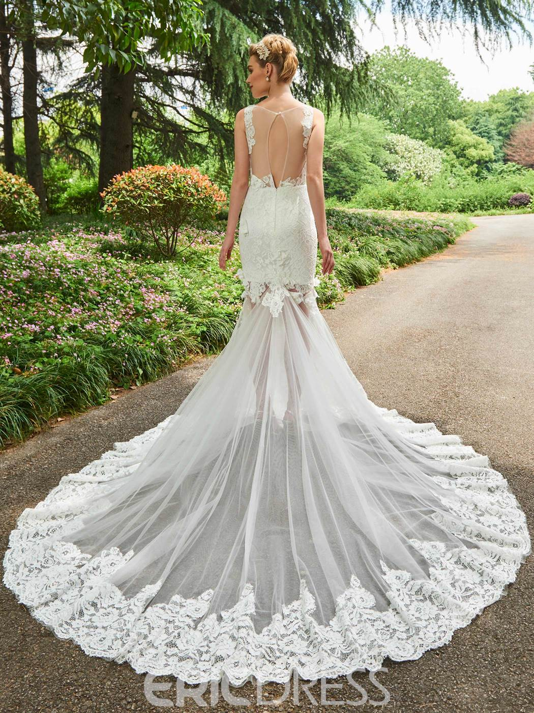 Ericdress Scoop Lace Mermaid Backless Wedding Dress