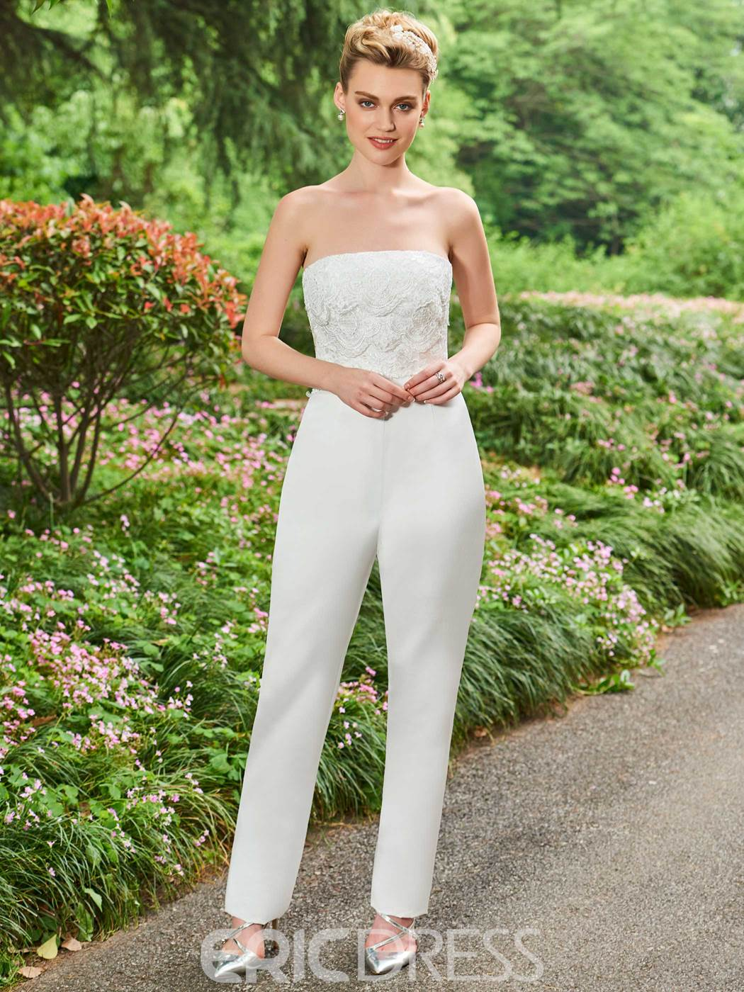 Ericdress trägerlosen appliques tulle wedding jumpsuit