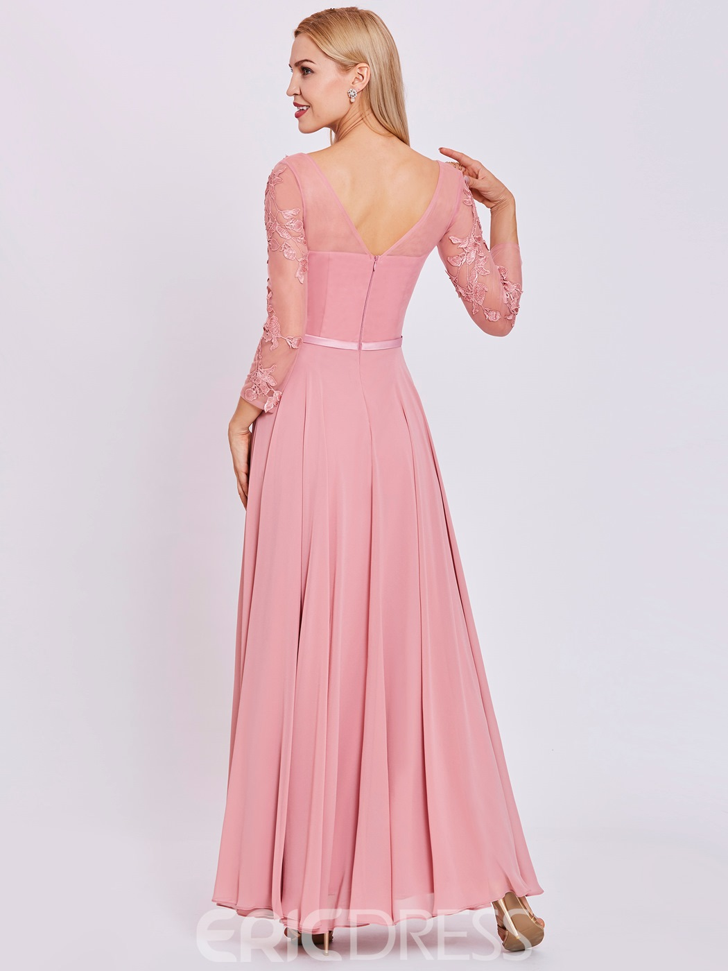 Ericdress V Neck Long Sleeves Appliques A Line Prom Dress