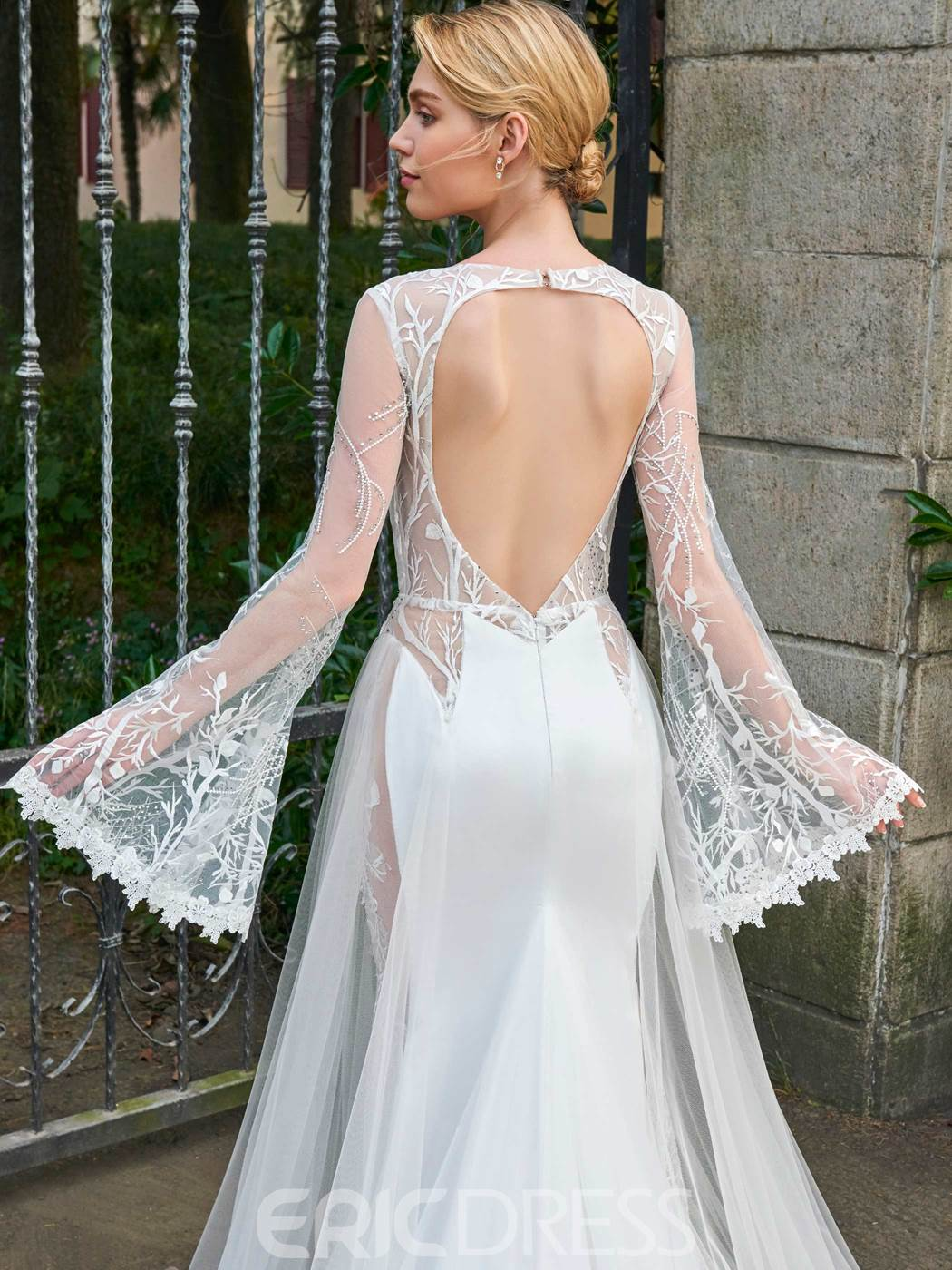 Ericdress Bateau Mermaid Long Sleeves Backless Wedding Dress
