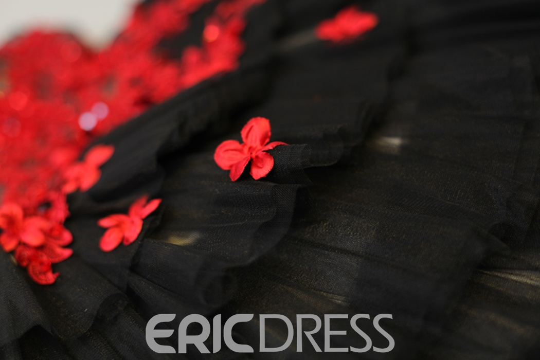Ericdress A Line V Neck Flower Applique Short Homecoming Dress