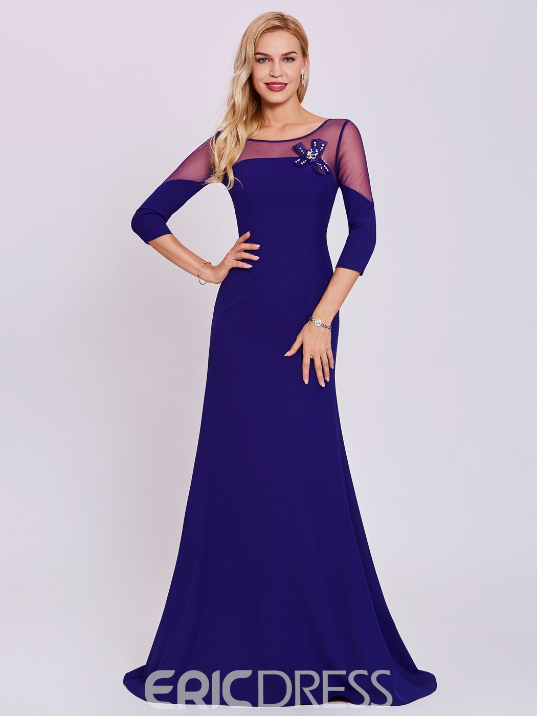 Ericdress Scoop Neck Long Sleeves A Line Evening Dress