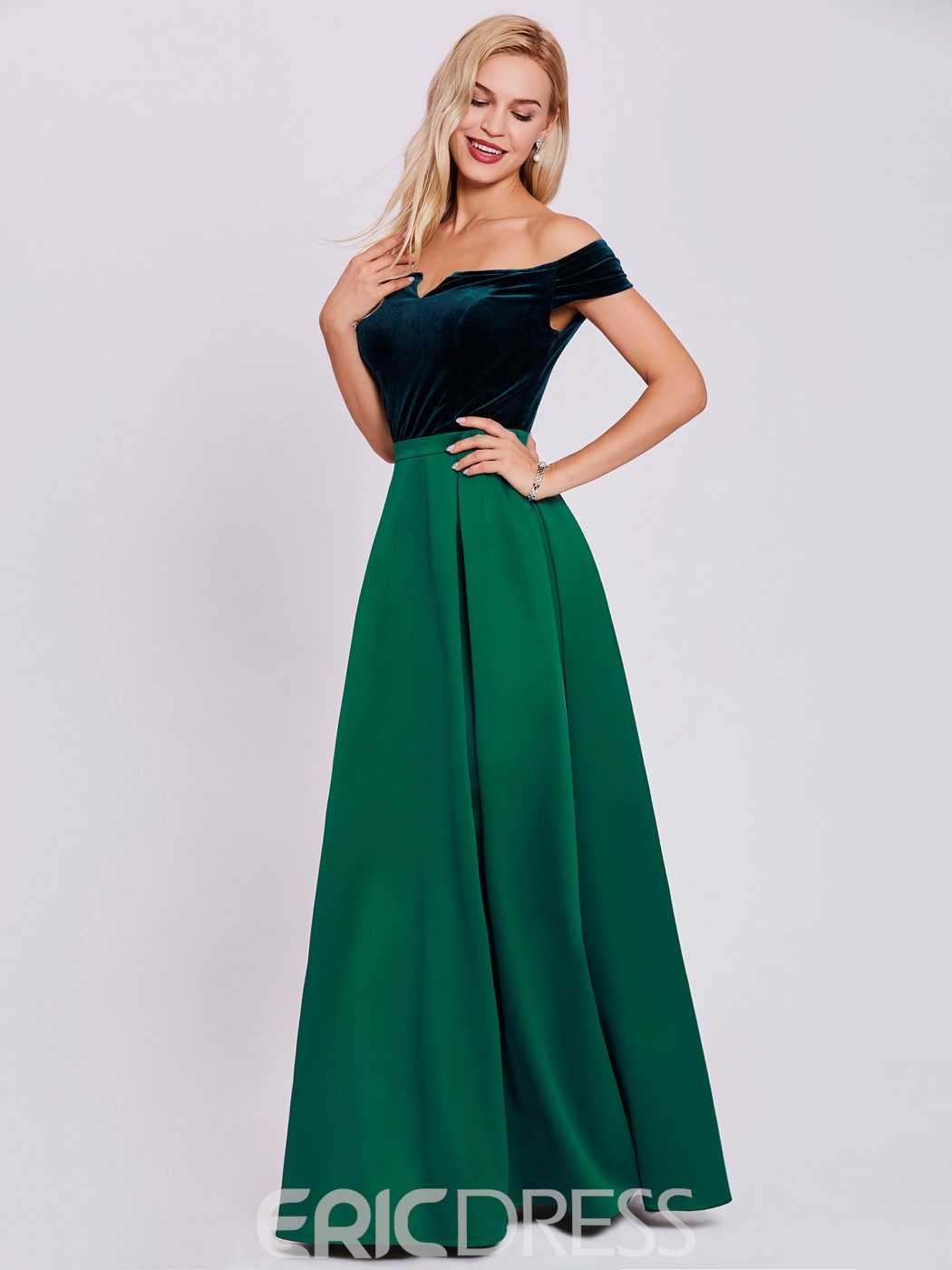 ericdress eine line-off-the-shoulder lange Abendkleid