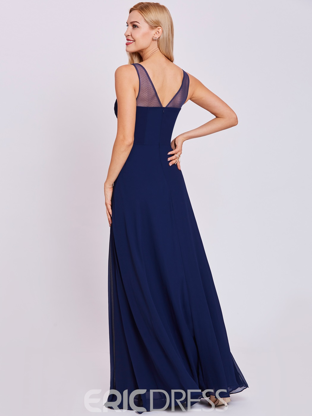 Ericdress Straps Zipper-Up A Line Evening Dress