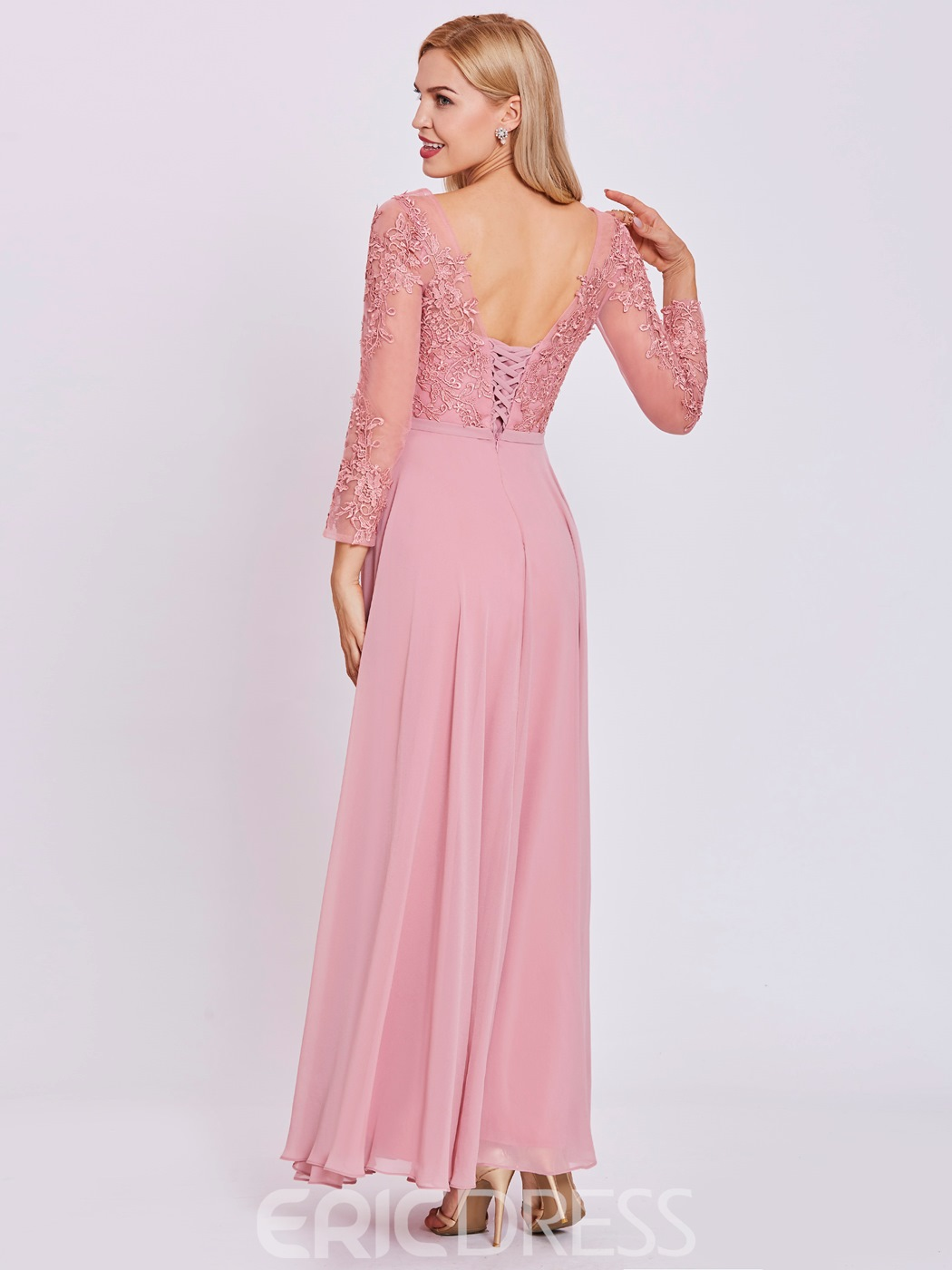 Ericdress Scoop Neck Lace-Up Appliques A Line Evening Dress