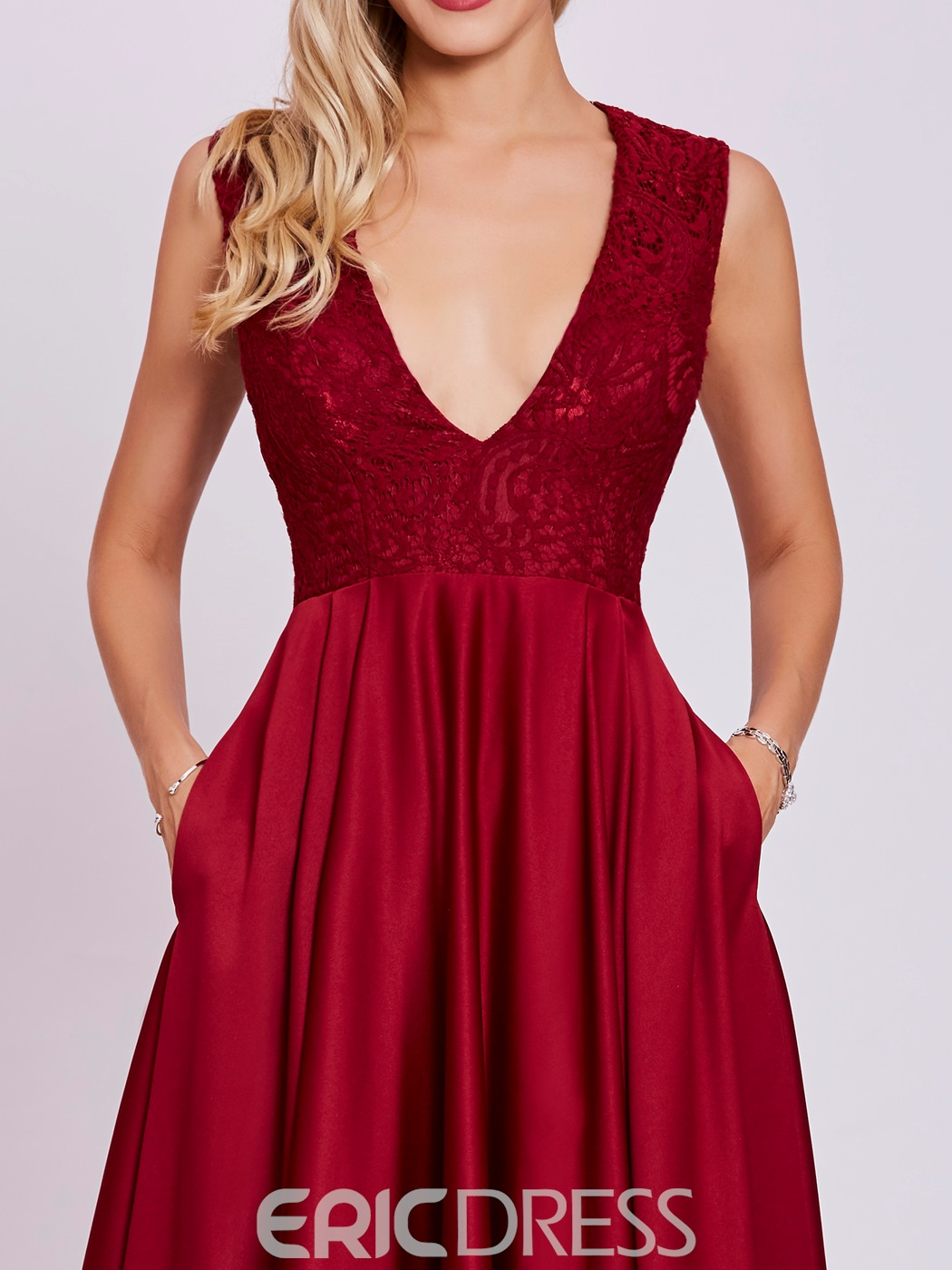 Ericdress Sexy V Neck Lace A Line Evening Dress
